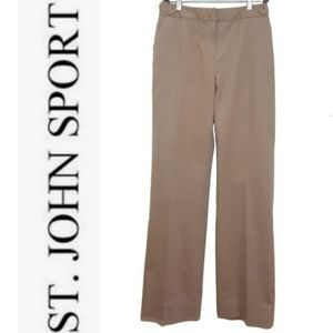 St. John Sport Khaki High Waist Straight Leg Pants